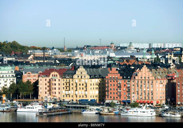 Sweden, Stockholm, Gamla Stan, waterfront view - Stock Image