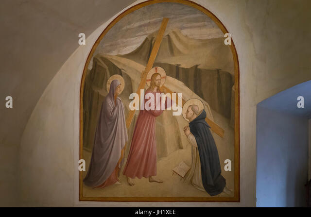 Christ Carrying the Cross, by Fra Beato Angelico, circa 1438, Convent of San Marco, Florence, Tuscany, Italy, Europe - Stock Image