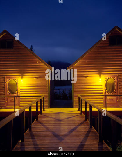 Nimmo Bay Resort chalets # 3 and #4 at dusk. British Columbia - Stock Image