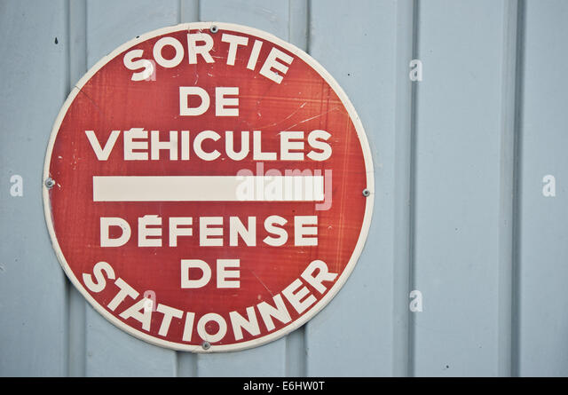 French no car parking signal - Stock Image