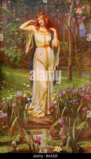 Freyja and the Necklace.  Norse myth. - Stock Image