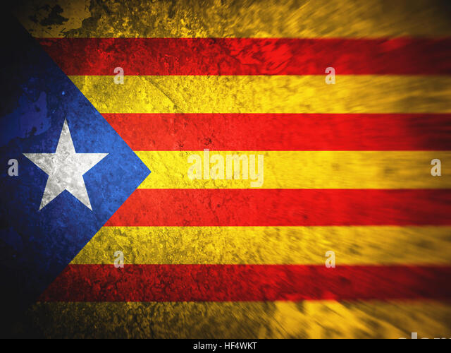 Flag of Catalonia, backgrounds, textures, blurred image, dirty - Stock Image