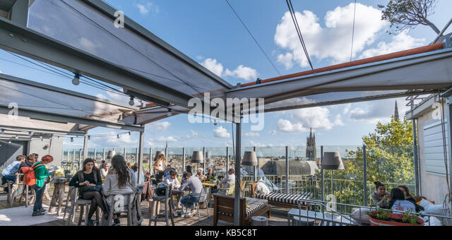 Mama shelter Design  Hotel, designed by Philipp Starck, sky bar, rooftop,  Bordeaux, France - Stock Image