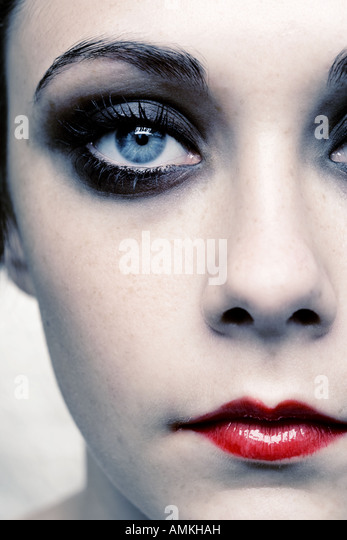 Close up section of half a human female face - Stock Image
