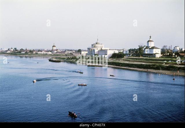 geography / travel, Russia, Tver, city view / city views, river Volga, 1960s, Europe, Eastern Europe, Kalinin, ship, - Stock Image