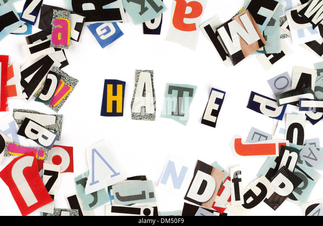 Hate inscription made with cut out letters - Stock Image