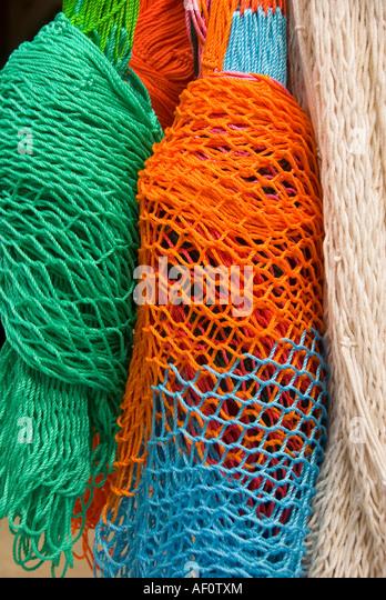 Costa Maya riviera colorful hammocks souvenirs shopping mexico - Stock Image