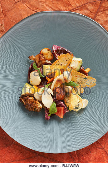 Forest and field mushrooms with avocado and radicchio - Stock Image
