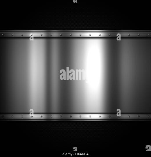 Shiny metal plate on a carbon fibre background - Stock Image