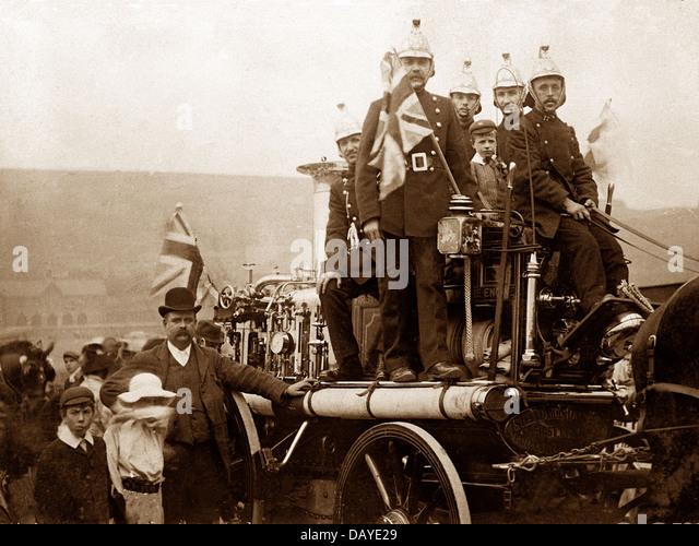 Milnsbridge Fire Brigade in 1908 - Stock Image