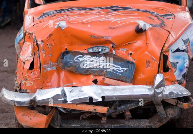 bent old car crashed dented dent crashed panel beater beating scratched accident car cars crashed crash insurance - Stock Image
