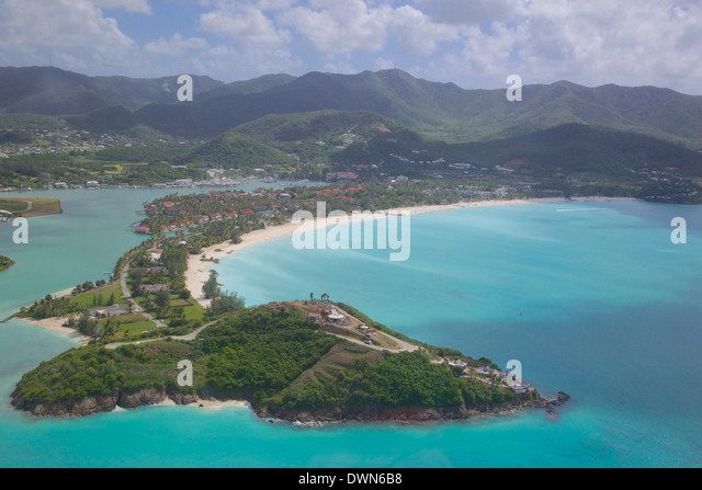 View over Jolly Harbour, Antigua, Leeward Islands, West Indies, Caribbean, Central America - Stock Image