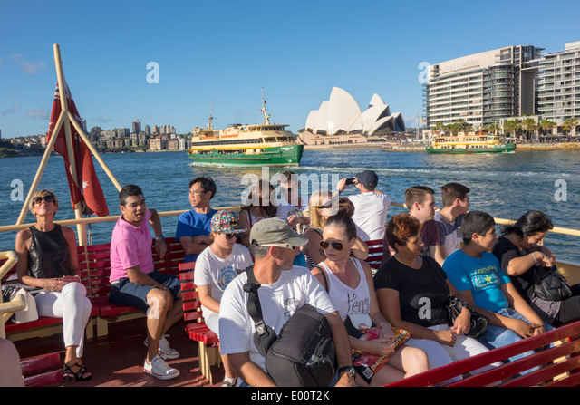 Sydney Australia NSW New South Wales Ferries Harbour harbor Sydney Opera House Parramatta River Darling Harbour - Stock Image