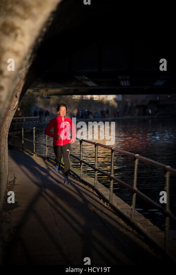 Lizzy Hawker, a world record holding extreme athelete, training in London, UK - Stock Image