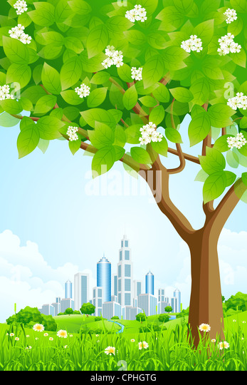 Green Background with Trees Flowers Hills and City - Stock Image
