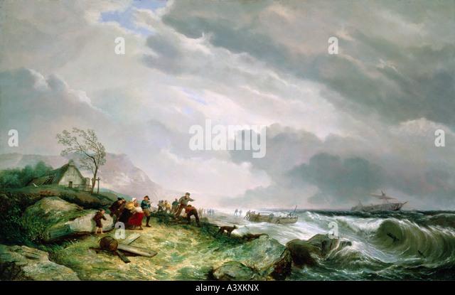 'fine arts, Dommersen, Cornelis Christian, (1842 - 1928), painting, 'ship in distress', 1868, oil on - Stock-Bilder