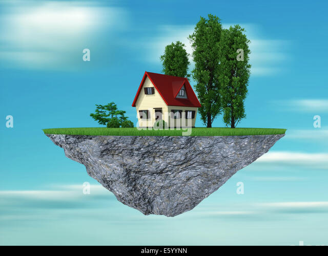 House and trees on a cliff hanging - this is a 3d render illustration - Stock Image