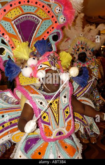 BAHAMAS Junkanoo Celebration Bright Costume - Stock Image