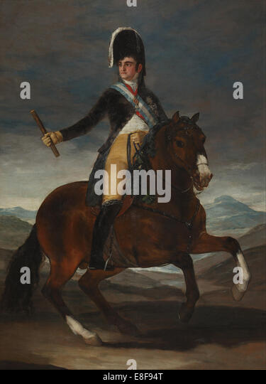 Equestrian Portrait of King Ferdinand VII of Spain. Artist: Goya, Francisco, de (1746-1828) - Stock Image