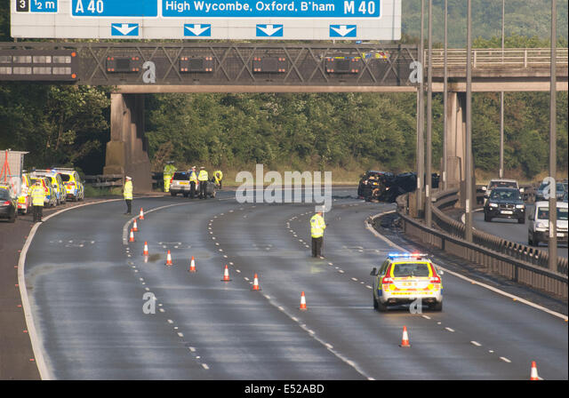 Between Junctions 2-3, M40 Motorway, Buckinghamshire, UK. 18th July, 2014. Two people killed and six injured in - Stock Image