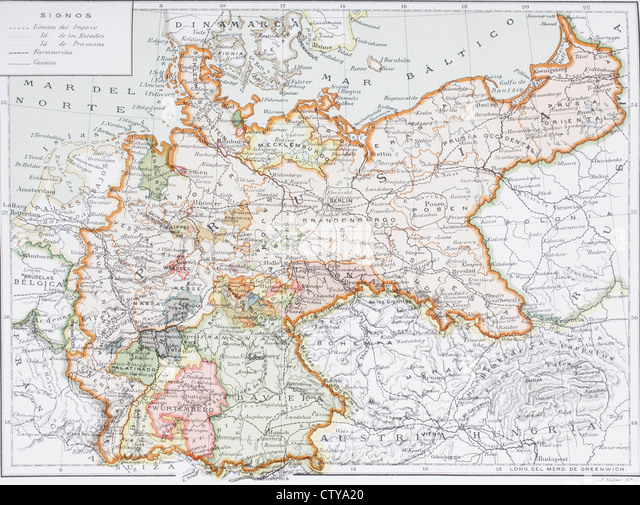 Map of Imperial Germany prior to the First World War, at the turn of the 20th century. Map is edited in Spanish - Stock Image