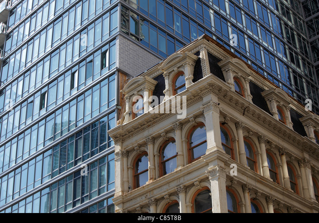 old and new contrasting buildings in New York City - Stock Image