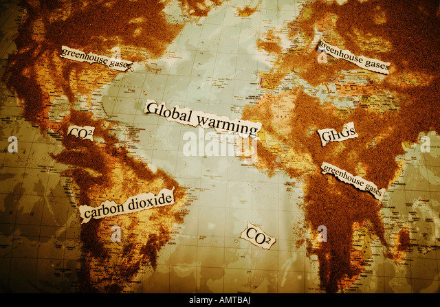 world map with sand on it - Stock Image