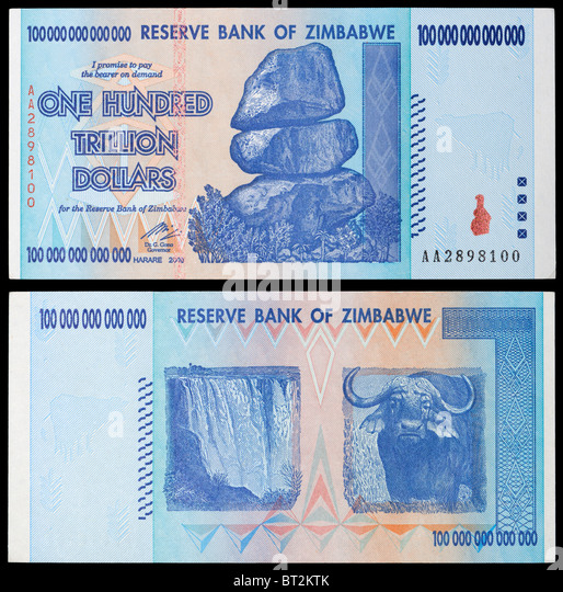 Zimbabwe One Hundred Trillion Dollar banknote 100,000,000,000,000, from 2008 period of Hyperinflation - Stock Image