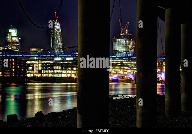 United Kingdom England London Cityscape with Tower 42 Leadenhall Building Walkie Talkie Millennium Bridge and Southwark - Stock-Bilder