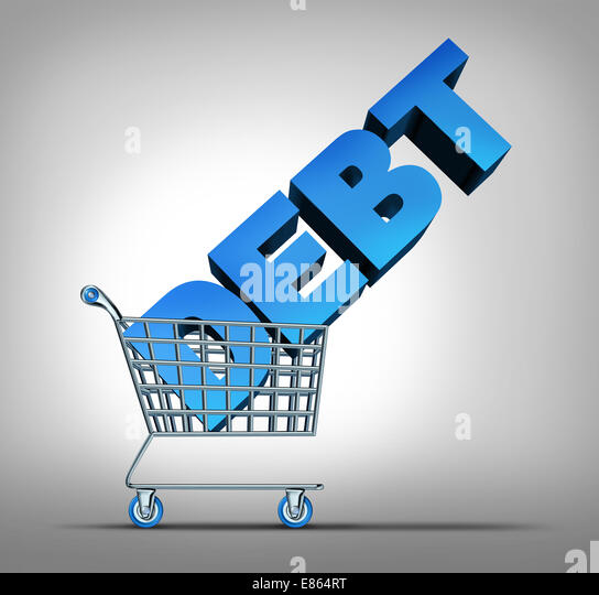 Consumer debt financial concept as a shopping cart dragging a three dimensional text as a credit problem symbol - Stock-Bilder