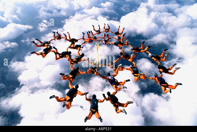 Freefalling toward clouds - Stock Image
