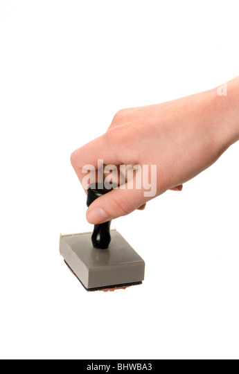 hand and rubber stamp - Stock Image