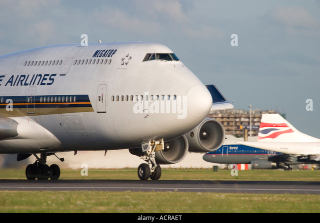 Close-up of Singapore Airlines Boeing 747-412 at London Heathrow Airport England UK - Stock Image