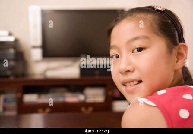 Portrait of a girl smiling - Stock-Bilder