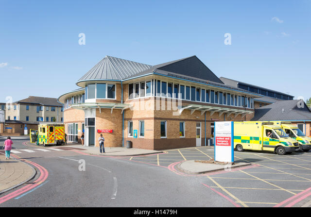 Accident and Emergency Department, St Peter's Hospital, Guildford Road, Lyne, Surrey, England, United Kingdom - Stock Image