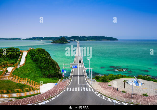 Shimonoseki, Yamaguchi Prefecture, Japan at Tsunoshima Bridge over the Sea of Japan. - Stock Image