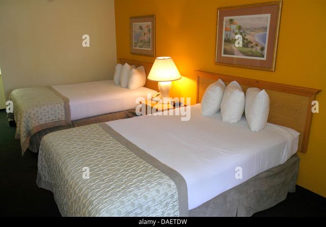 Miami Florida Ramada Inn Florida City motel guest room two 2 double beds made budget - Stock Image
