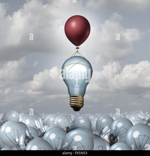 Innovative thinking concept as a group of 3D illustration light bulbs in a vast landscape as one lightbulb rises - Stock-Bilder