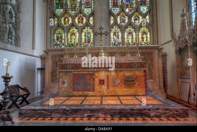 Main Altar art from chapel of St Peter & St Paul, parish church, Dorchester on Thames, England, UK - Stock Image