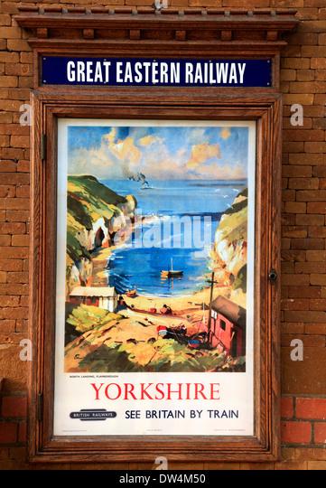 British Railways advertising poster, 1948, Wolferton Station, artist view of Flamborough, Great Eastern Railway, - Stock Image