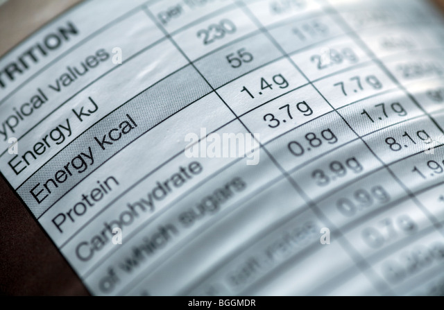 The nutritional information table on the side of a tin of food - Stock Image