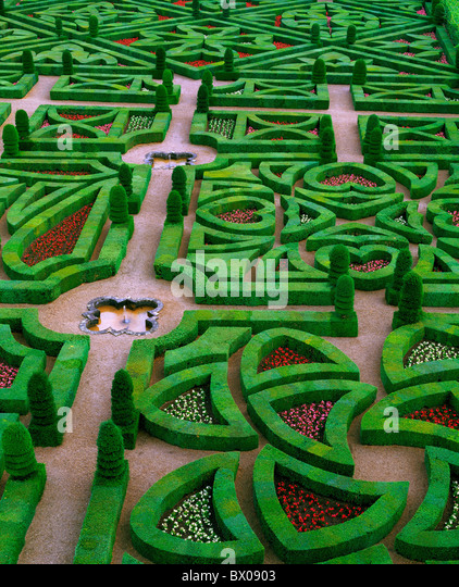 France Europe garden Loire castle Villandry overview - Stock Image