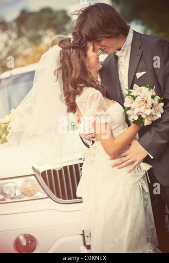 Young wedding couple portrait. Retro style colors. - Stock Image