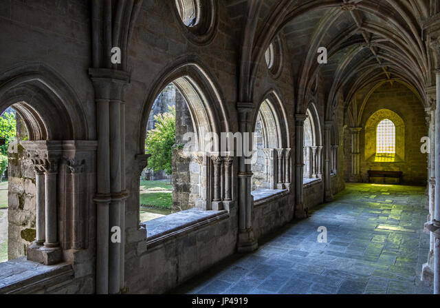 Cloisters of Evora Cathedral (the Se) in the city of Evora in Portugal. Evora is a UNESCO World Heritage Site. - Stock Image