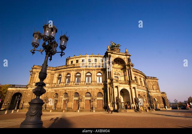 Dresden Saxony Semper Opera theatre square Laterne - Stock Image
