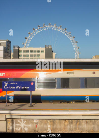 Welcome to Waterloo, South West Trains and the London Eye - Stock Image