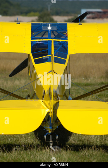 Back view of fuselage and tail of Piper Cub J-3, historic and also world famous light aircraft trainer - Stock Image
