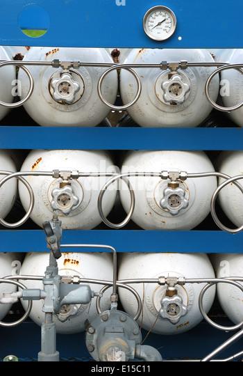 High Pressure Bottle Rack : Propane gas bottle regulator stock photos