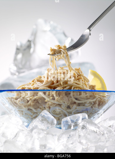 Salmon with soba noodles - Stock Image