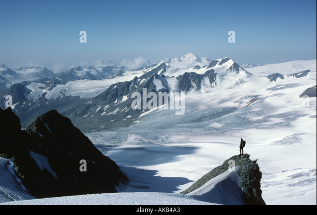 The Grosse Vernagt glacier from the Petersenspitze, Ötztal Alps, Austria - Stock Image